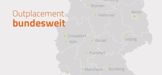 Landkarte, die die Standorte der Outplacement Group zeigt